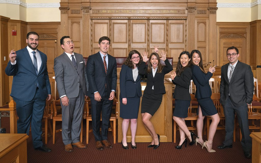 2016-2017 Bulletin Group Picture in Court room in funny poses