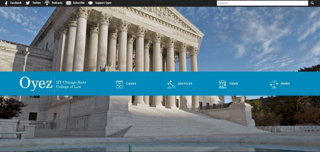 Screen shot of the Oyez website menu with courthouse in the background