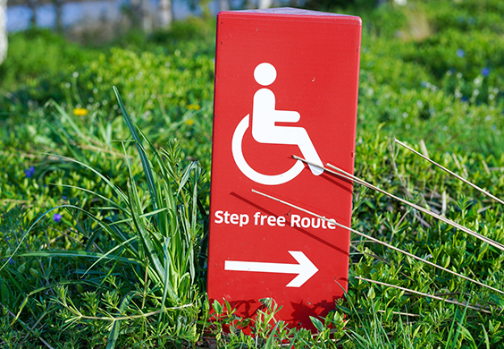 Disability sign saying step free route