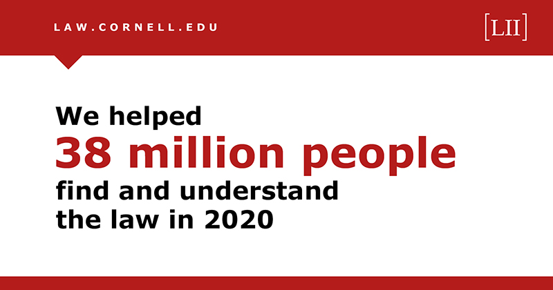 The LII Helped 38 million people find and understand the law in 2020