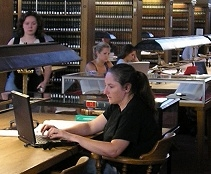 student studying in Cornell Law Library Reading Room