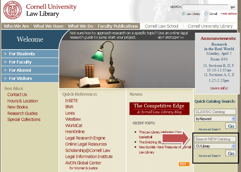 WorldCat search from Cornell Law Library home page