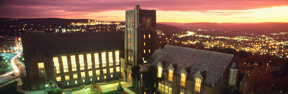 Ariel view of Cornell Law School at night