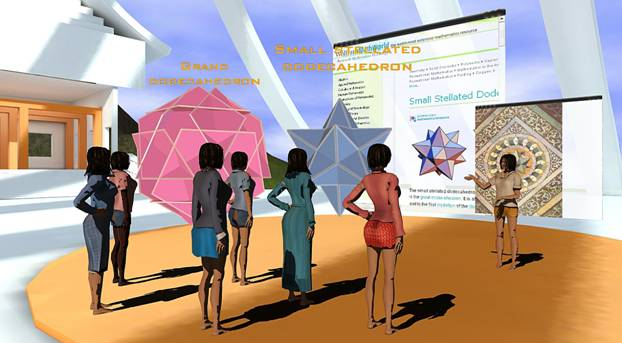 Interacting with a complex 3D object, a dodecahedron, in the context of a geometry lesson within a virtual world