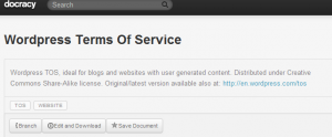 "Docracy: WordPress Terms of Service are tagged with ""TOS"" but also with ""Website""."
