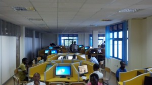 "One of four computer labs, called the ""digital library"" at Kigali Independent University, with more than 400 computer workstations available for student use."
