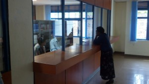 Service counter at the University Library at Kigali Independent University in Rwanda.  Students aren't allowed to browse the library stacks.